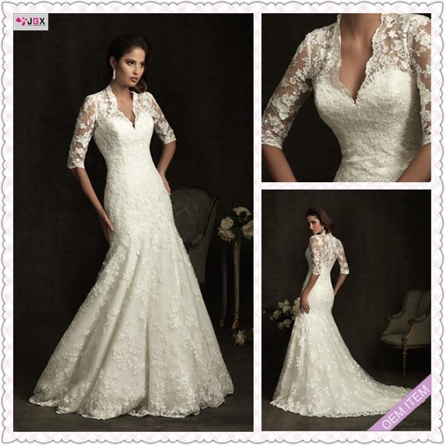 Custom Classic vintage Lace Long Sleeve White/Ivory Wedding Dress ...