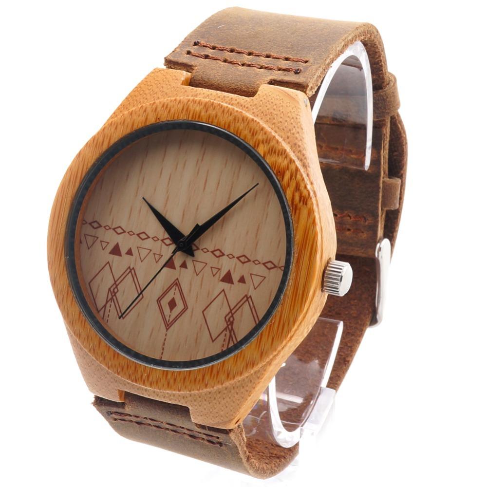 Prix pour Bobo bird main bambou en bois montre fait avec mouvement japonais en réel bracelet en cuir brun pour le cadeau