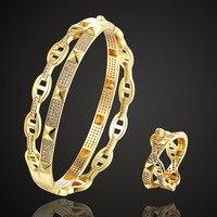Zlxgirl jewlery Hollow Copper bangle and ring jewelry sets women wedding bridal accessory sets rose gold color bangle sets bijou