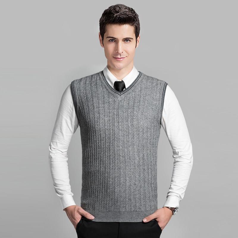 2016 Latest Style Fashion Grey V Neck Sleeveless Knitting Pattern Mens Cable Sweater Vest