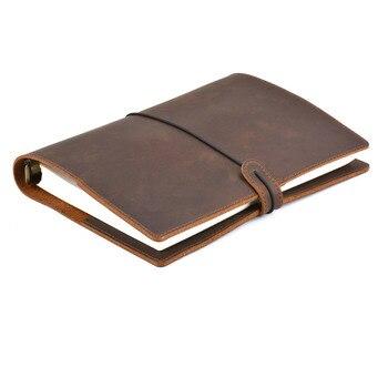 Vintage hecho a mano, diario de cuero, cuaderno A5 A6 A7 corteza Binder cuaderno de diario de viaje de negocios Oficina la escuela suministros
