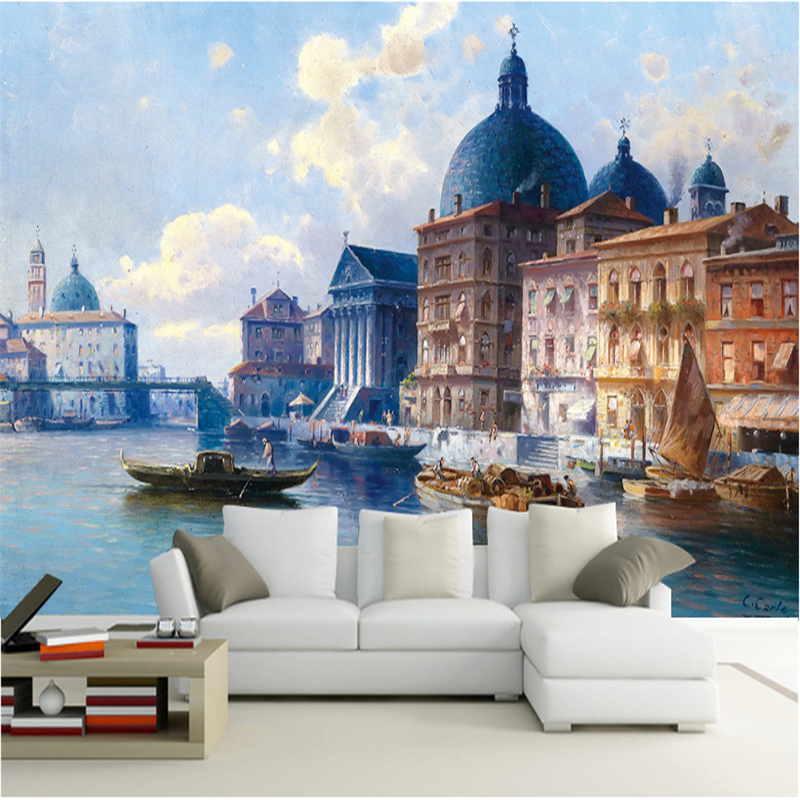 Customized 3D Wall Murals Stereo Embossed Venice Watertown Living Room Tv Backdrop Eco-Friendly Fiber Decor Non-Woven Wall Paper environmentally friendly 3d cartoon wall roll ocean fish kids room tv backdrop wallpapers boy girl bedroom non woven wall paper