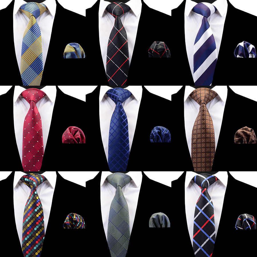 RBOCOTT, клетчатый галстук, набор для мужчин, модный галстук, платок, мужской классический полосатый галстук на шею, 8 см, красный, синий, коричневый, для свадьбы