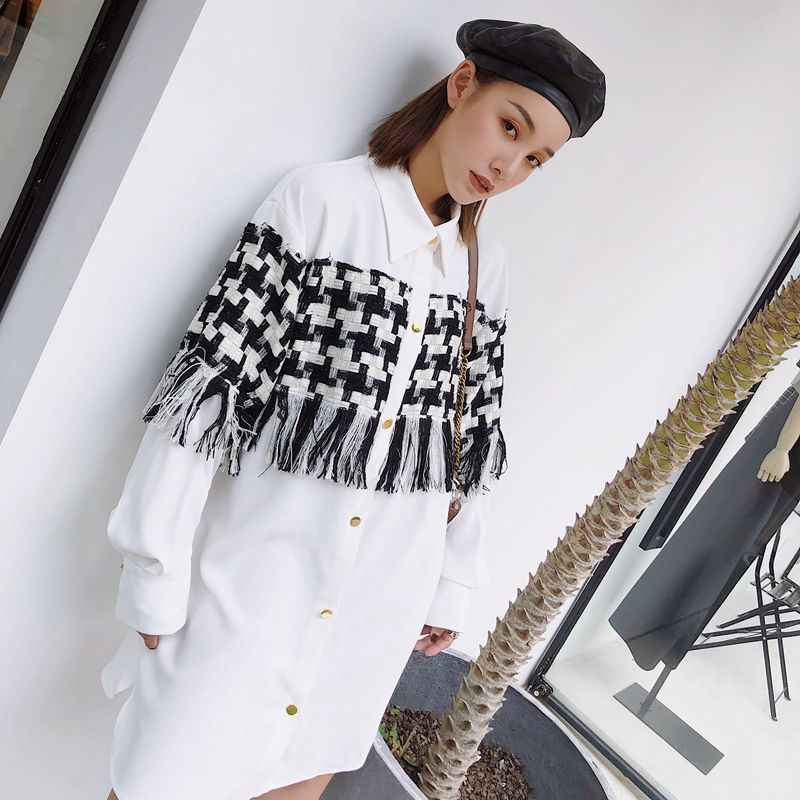 7f2e24e1e5d5f1 ... Cheerart Streetwear White Shirt Dress Patchwork Houndstooth Tassel Plus  Size Loose Designer Gold Button Mini Dress ...