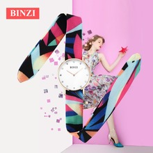 BINZI New Fashion Quartz Watches Women Multicolor Nylon Cloth Band Watch Casual Wristwatch Simple Designer Ladies Clock Orologio