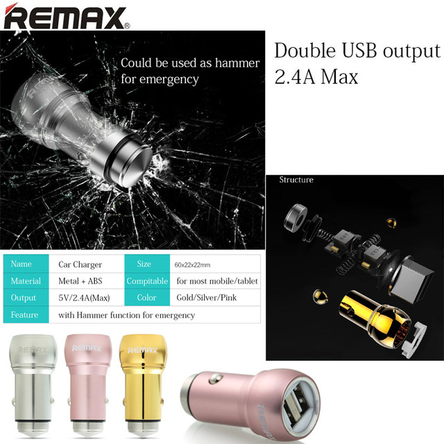 Remax 5V 2.4A 12V-24V 2 Ports mini Super Fast USB Car Charger For ipad iPhone 5 6 7 5S 5C 6 Plus huawei xiaomi lg moto samsung