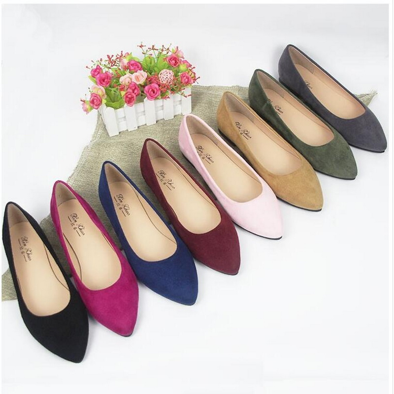 Spring Autumn Pointed Fashion Shallow Mouth Flat Shoes Female Large Size Shoes 41 43 44 Small Size 31 33 34 Pregnant Women Shoes by Rushiman