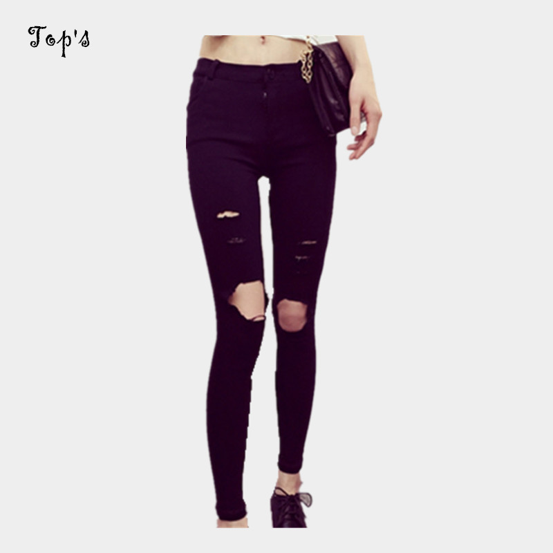 2016 Free Shipping Women Black Skinny Jeans with Ripped ...