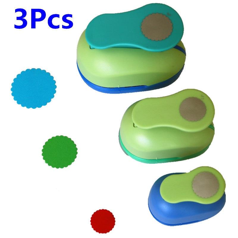 3PCS(5cm,3.8cm,2.5cm) Wave Circle Shape Craft Punch Set Children Manual DIY Hole Punches Cortador De Scrapbook Circle Punch