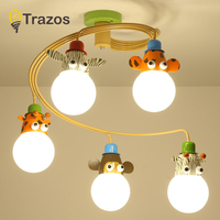 TRAZOS Cartoon Led children chandelier Lighting For Kids Room Cloth Lampshade Chandelier Boys Bedroom Lustre Girls Lustresa