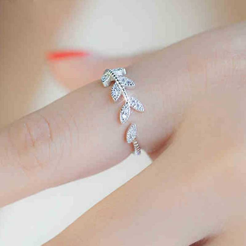 Hot Sale Simple And Temperament Stylish And Exquisite Leaves Micro-inlaid Zircon Adjustable Open Elegant Ring