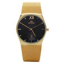 Moda elegante simple BELLMERS de Primeras marcas de Lujo Relojes hombres mujeres Cuarzo de la correa de Malla De Acero Inoxidable hombre reloj relogio masculino