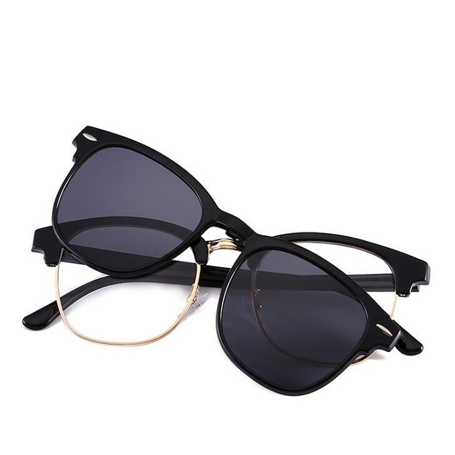 a49226a8d66 Magnet Flat Polarized Sunglasses Dual use TR90 Clip Mirrored Sunglasses  glasses MenClips Half Frame Rivet Eyeglasses
