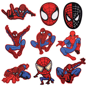Cartoon Spider-Man hero Patches for Clothing DIY Embroidery Iron On Patch Girls Boys Stickers Garment Sewing Appliques wholesale(China)