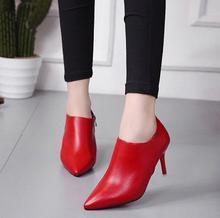 fd195949032 Botines de cuero de tacón alto zapatos de tacón de aguja señaló 2018 otoño  e invierno nuevas mujeres con botas de otoño salvaje .