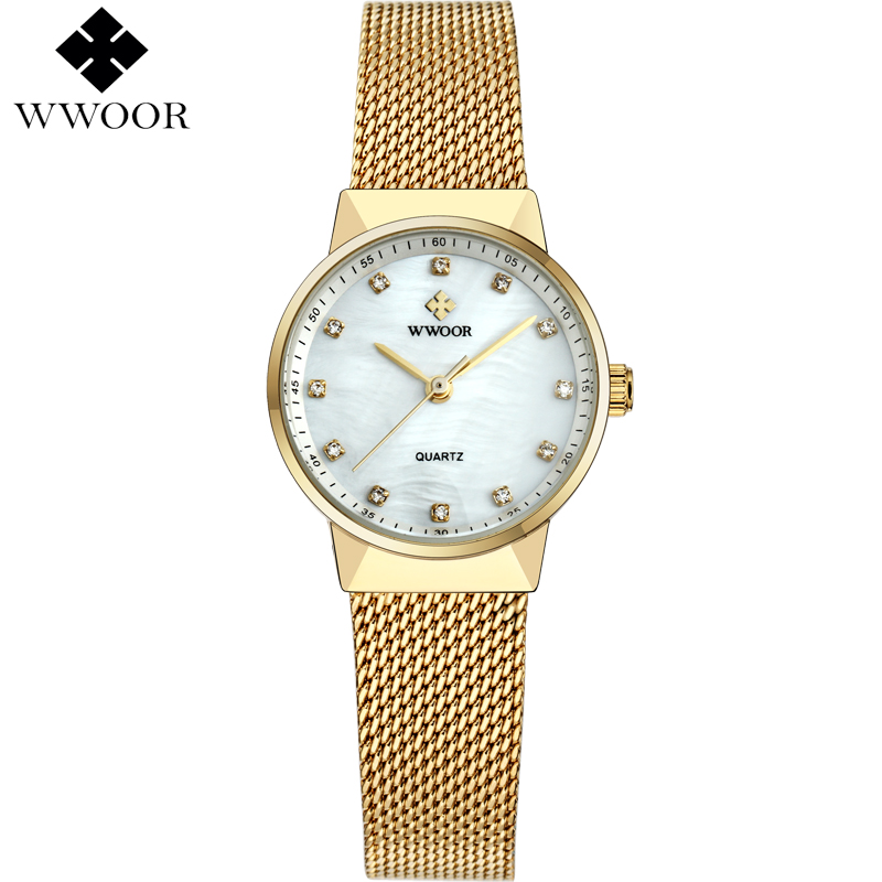 New WWOOR Women Watches Brand Luxury Waterproof Clock Ladies Quartz Wristwatch Women Gold Bracelet Dress watch relogio feminino brand kimio luxury women s watches rose gold business crystal women bracelet watches relogio feminino ladies quartz wristwatch