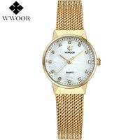 New WWOOR Women Watches Brand Luxury Waterproof Clock Ladies Quartz Wristwatch Women Gold Bracelet Dress Watch
