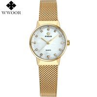 New WWOOR Women Watches Brand Luxury Waterproof Clock Ladies Quartz Wristwatch Women Gold Bracelet Dress Watch