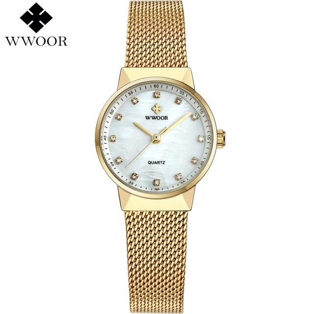 ee05bd53f88b Nueva las mujeres de wwoor relojes marca de lujo impermeable reloj cuarzo  de las señoras mujeres
