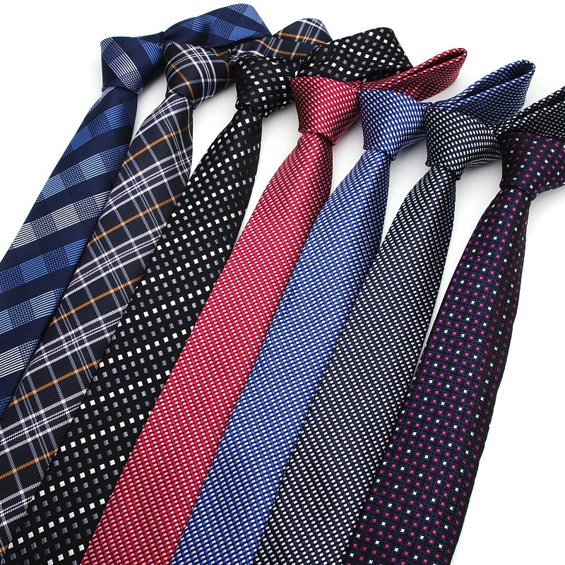 New Formal Ties For Men Classic Polyester Woven Plaid Dots Party Necktie Fashion Slim 6CM Wedding Business Male Casual Gravatas