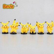 Bevle Pocket Monster 5cm Exquisite Fashion 6Piece/lot Pikachu Cartoon Characters PVC Animation Action Figure Doll Figure Toy