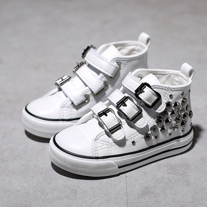 Rivets Childrens Canvas Shoes 2018 Spring New Korean Princess Shoes High Top Girls Sneakers Casual Girls Shoes ...