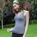 Sportswear menina Colete de Verão Tanque Das Mulheres Tops Sem Mangas de Fitness Colete Solto Acolchoado Bra Y25097