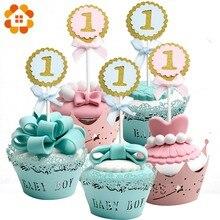 Um ano festa decoração bolo toppers redondo azul & rosa festa de aniversário balões 1 ano primeiro crianças aniversário banner diy casa suprimentos