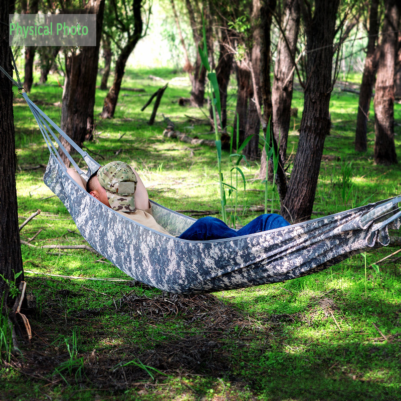 Outdoor Travel Camping Portable Camouflage Breathable Hammock Swing Porch Picnic Rest Hanging Sleeping Bed BBQ Hammocks Camping