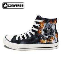 Оригинальные Converse холст кроссовки Ручная роспись обувь дизайн Death череп Покер огонь Скейтбординг обувь мужчин Женщины патроны