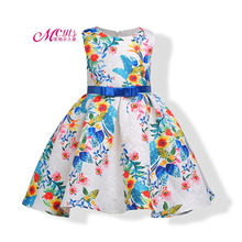 цена на Girls Summer Designer Formal Party Dress New 2018 Girls Floral Print Dress Princess Costume 3 4 5 6 7 8 9 10 Years Kids Vestido