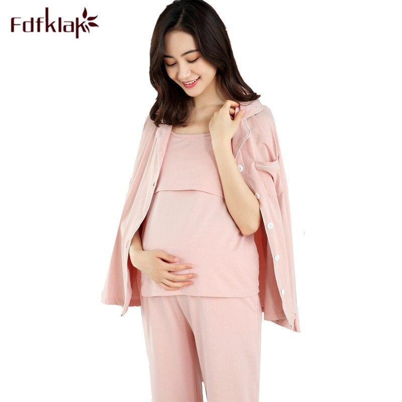 Fdfklak High Quality Pregnancy Clothes Long Sleeve Pajamas for Pregnant Women 3 PCS Cotton Maternity Pijama Nursing Pajamas Set
