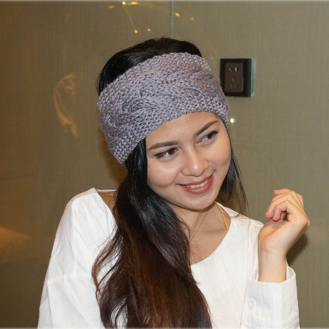 Solid Wide Knitting Woolen Headband 3