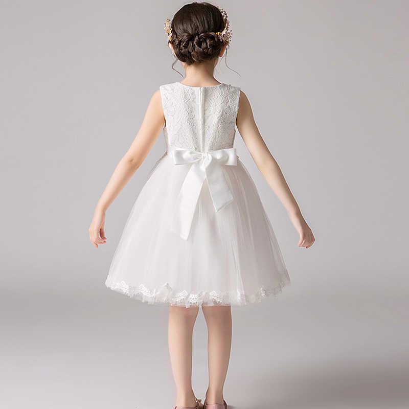 JaneyGao פרח ילדה שמלות לחתונה מסיבת ילדה קטנה נסיכת פורמליות 2019 חדש לבן ילדים יום הולדת לנשף שמלת ב המניה
