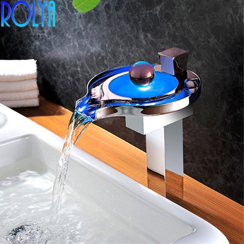 ROLYA Promotion en gros couleur changeante ronde capteur de température LED cascade robinets navire bassin mélangeur salle de bains robinets d'eau