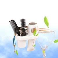 Home Storage Wall Suction Cup Firm Storage Shelf Hair Dryer Comb Toiletries Holder Rack Stand Set