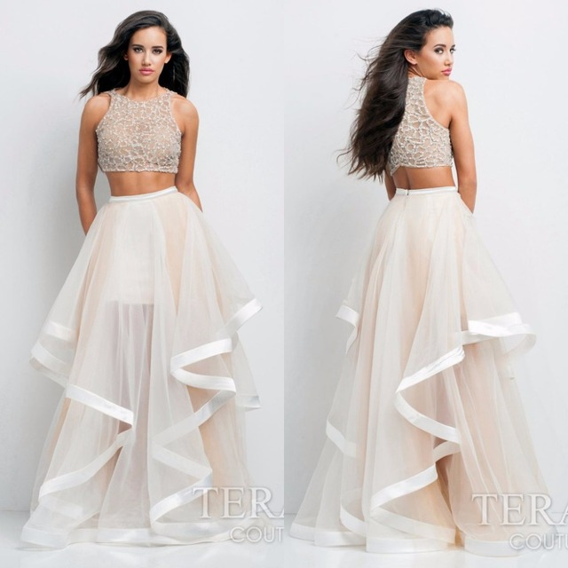 New Fashion Long Puffy Prom Dresses Ruffles Skirt Beaded Crop Top ...