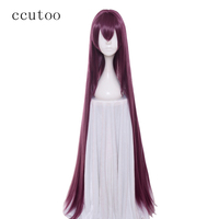 ccutoo 110cm Dark Red Fate/Grand Order Scathach Long Straight Synthetic Hair   Cosplay     Wig   Heat Resistance Fiber