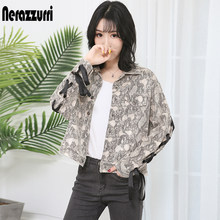 Nerazzurri Snake print suede leather jacket women plus size short lace up sankeskin coats and jackets spring autumn streetwear(China)
