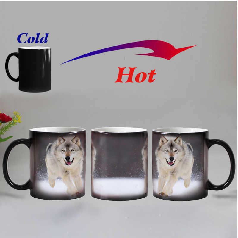 Darmowa wysyłka wilk zwierząt wrażliwy na ciepło kawy kufel kubek ceramiczne magia zmiana koloru kubki na herbatę niespodzianka prezent