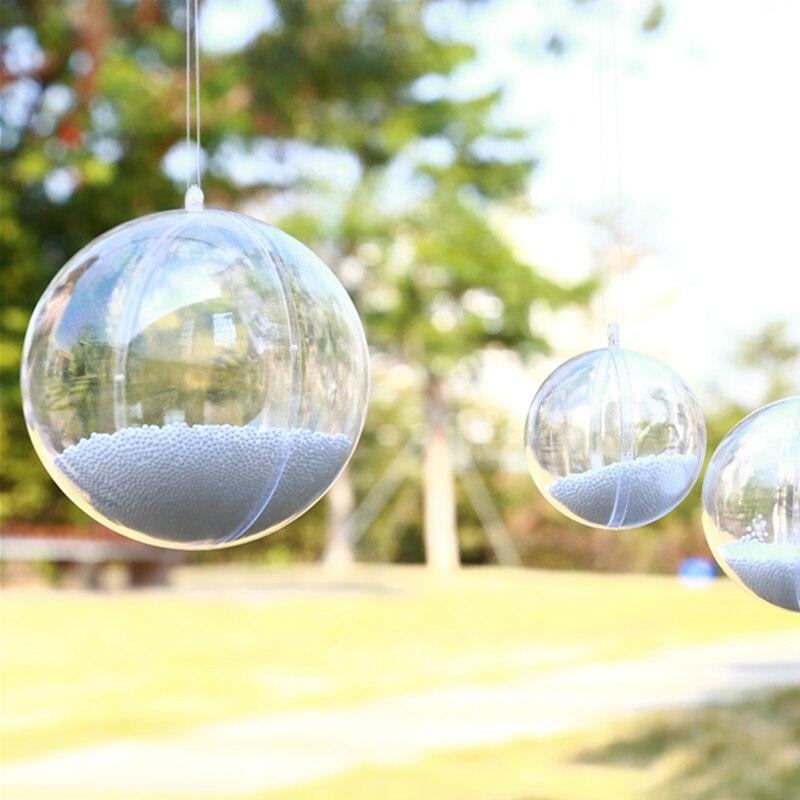 5pcs 6cm Plastic Transparent Ball Xmas Tree Clear Plastic Home Wedding Colorful confetti Decorations Shop Window Display