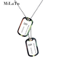 MiLaTu DIY Personalized Engrave Words Army Tags Stainless Steel Dog Tag ID Pendant Necklace Soldier Jewelry