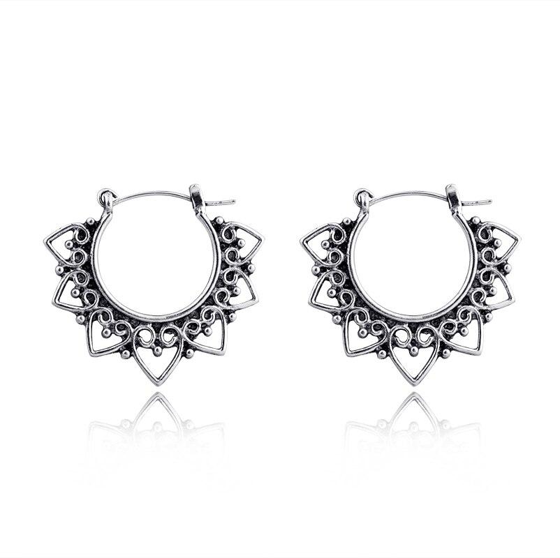 Heart Hoop Earring Jewelry Small Silver-Color Vintage Antique Elegant Fashion Women European