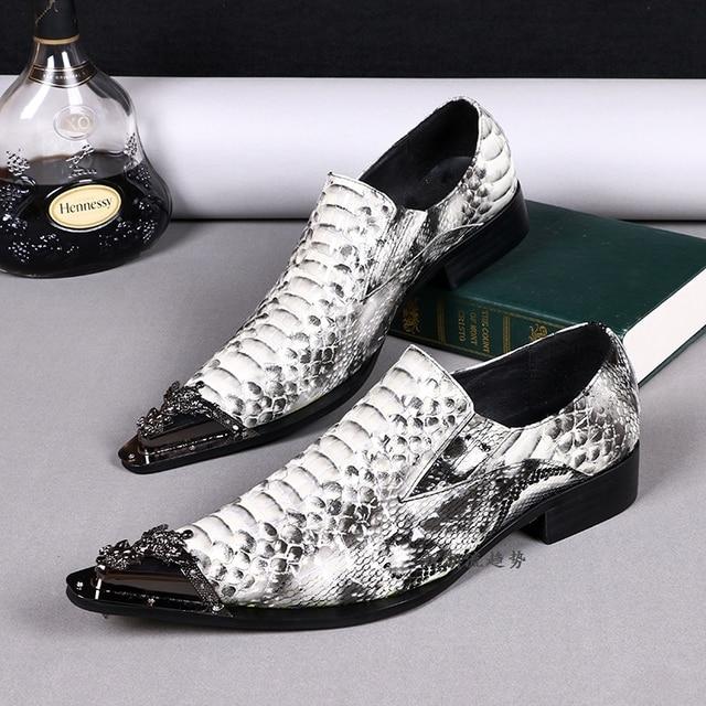 Plus Size 38-46 Nouveau Confort Geniune cuir formelle Hommes Mode Chaussures de peau serpent mariée X5U93bejSf