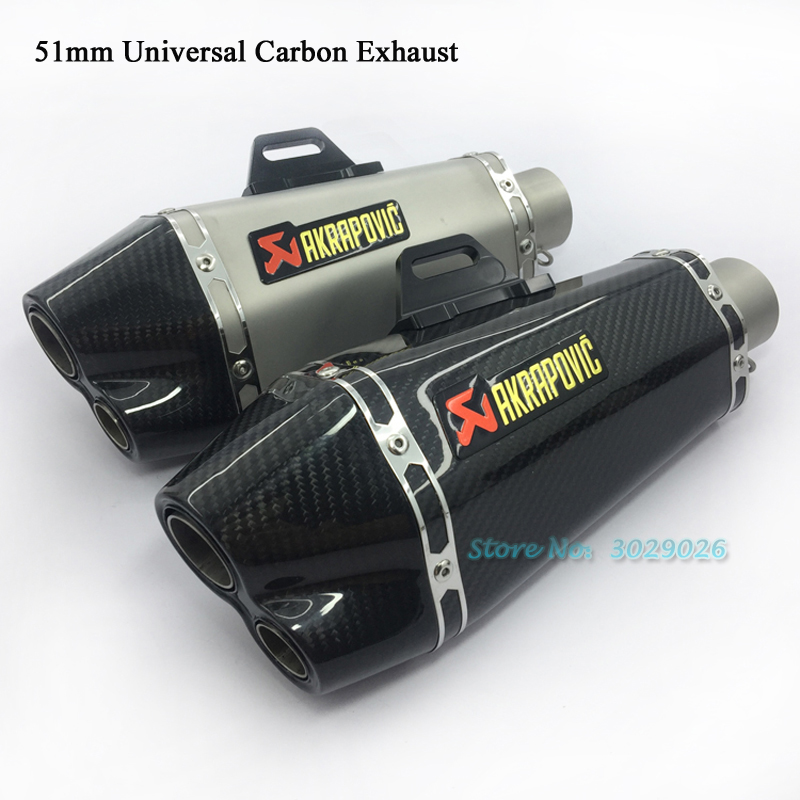 Inlet 36- 51mm Universal Double Dual 2 Hole Exhaust Modified Motorcycle Muffler Pipe For akrapovic Sticker Escape Carbon R6 R15 inlet 51mm universal exhaust motorcycle for akrapovic muffler pipe modified large displacement carbon fiber color db killer 51