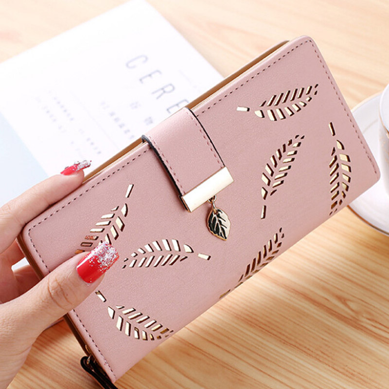 2018 Women Wallet Female Long Wallet Gold Hollow Leaves For Pouch Handbag Women Coin Purse Card Holders Portefeuille Femme fashion girl change clasp purse money coin purse portable multifunction long female clutch travel wallet portefeuille femme cuir