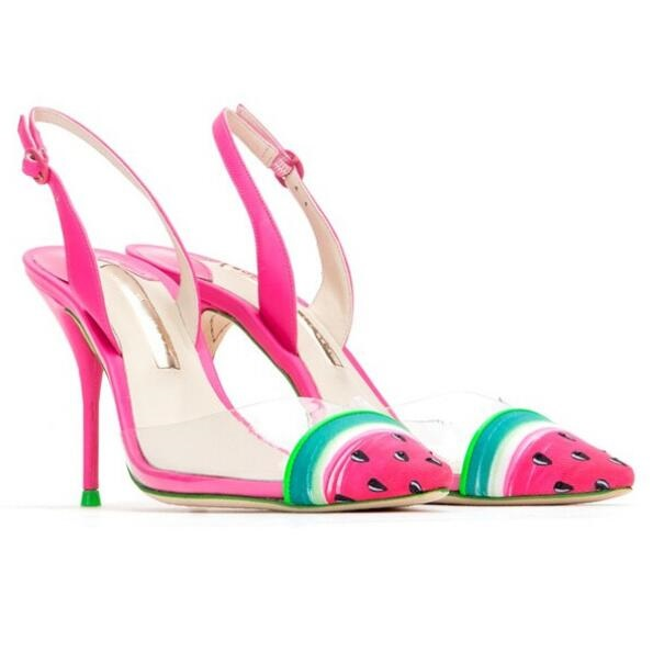 Zapatos Mujer Watermelon Pointed Toe High heel Slingback Sandals Woman PVC Transparent Sandals Sexy High Heels Pumps Size 10
