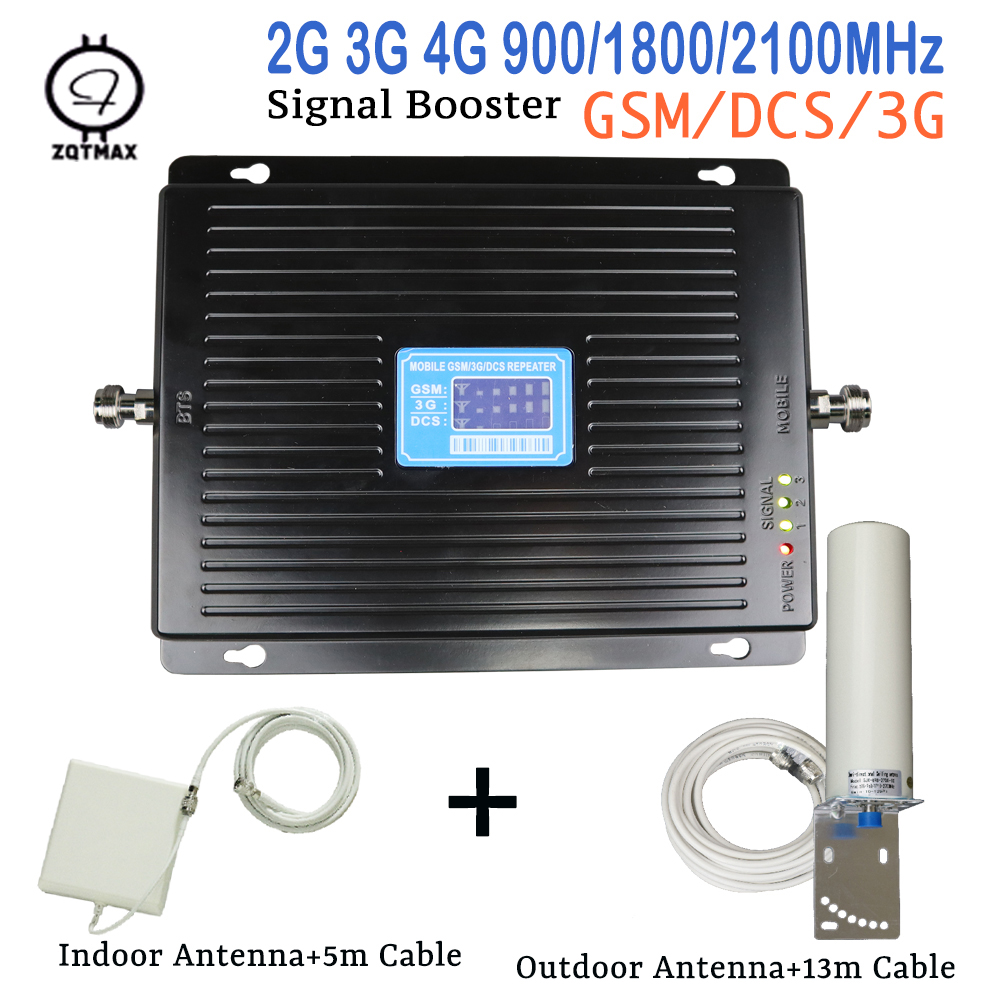 2G 3G 4G GSM 900mhz DCS 1800mhz WCDMA 2100mhz Tri Band Moblie Signal Booster LTE Repeater Antenna Amplifier Kit For Europe Asia