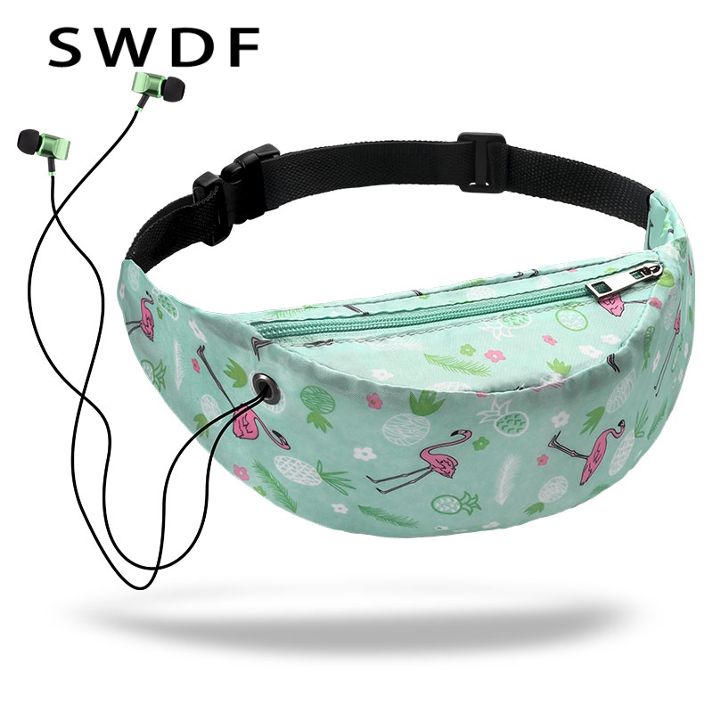 SWDF 3D Colorful Print Women Waist Bags Girls Fanny Packs