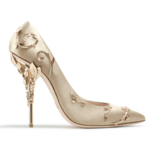 Boussac Elegant Silk Women Pumps High Heels Rhinestone Flower Wedding Pumps